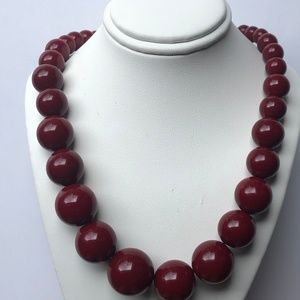 Vintage Rockabilly Cherry Red Lucite Bead Necklace